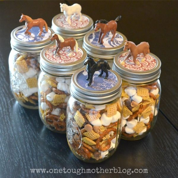 Easy party favors for horse-themed party - spray paint horses and lids, fill with candy/prizes?