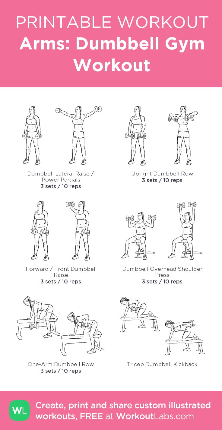 Arms: Dumbbell Gym Workout:my visual workout created at WorkoutLabs.com • Click through to customize and download as a FREE PDF! #customworkout