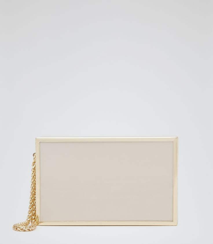 Womens Rum High-shine Box Clutch - Reiss Joy