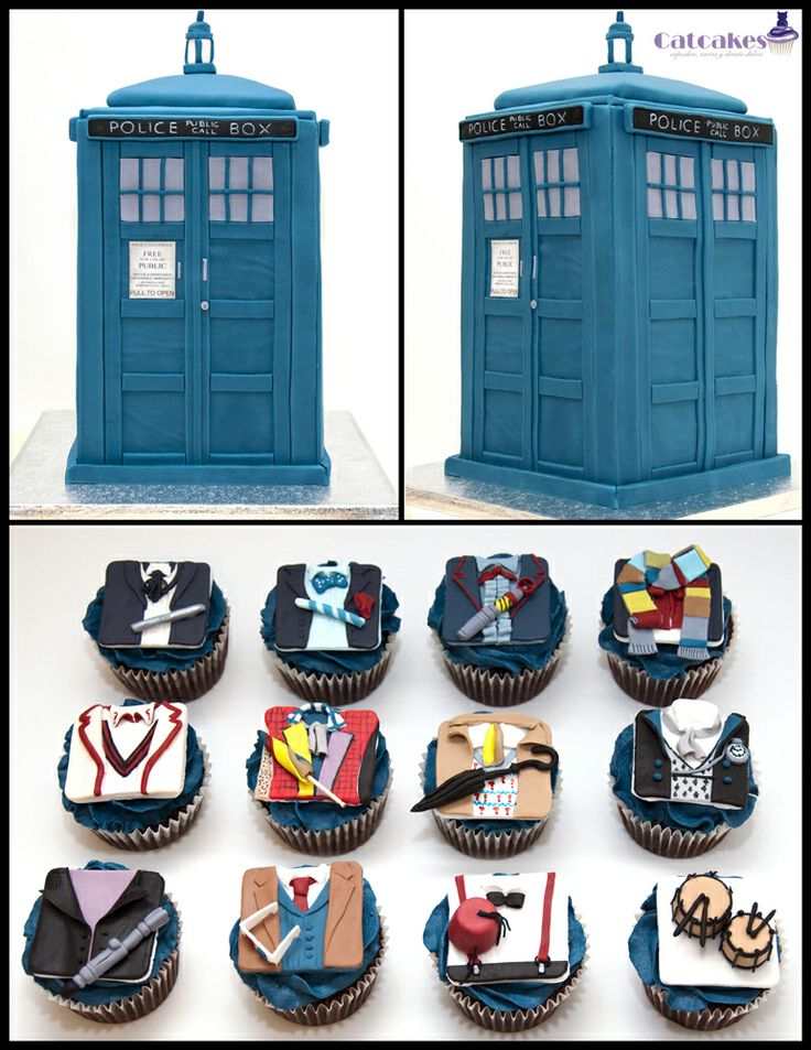 Dr Who cake with cupcakes - Tardis cake for a birthday with cupcakes inspired in all doctors until now. The number 12 cupcake is for The master (whovians will understand jeje)