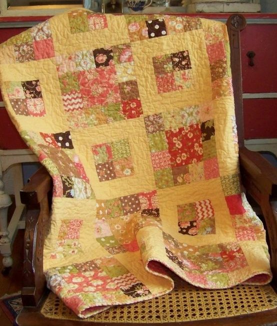 Scrappy Quilt. great colors.                                                                                                                                                     More