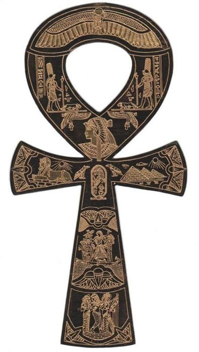 The ankh, also known as key of life, was the ancient Egyptian hieroglyphic character that read 'eternal life'; Egyptian gods are often portrayed carrying it by its loop, or bearing one in each hand, arms crossed over their chest.