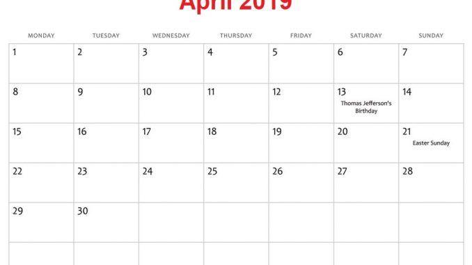 April 2019 Calendar Holidays Monthly Calendar Template Free