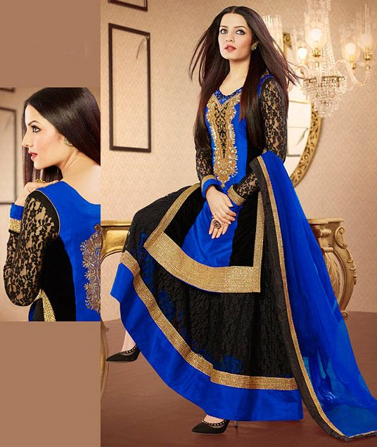 USD 66.93 Celina Jaitly Blue Velvet Anarkali Suit 54382
