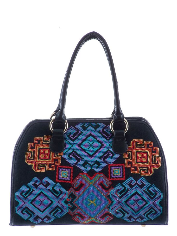 Purse leather and fabric with embroidery Composition : Leather and fabric Dimensions : Height : 24 cm, length : 36 cm, width : 20 cm.  ​Phone orders : 0727 781 988
