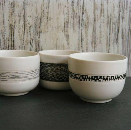 Ceramics by Kellie Miller at Studiopottery.co.uk - Couture Cups- Copenhagen & Milan picture Katya de grunwald, 2008.