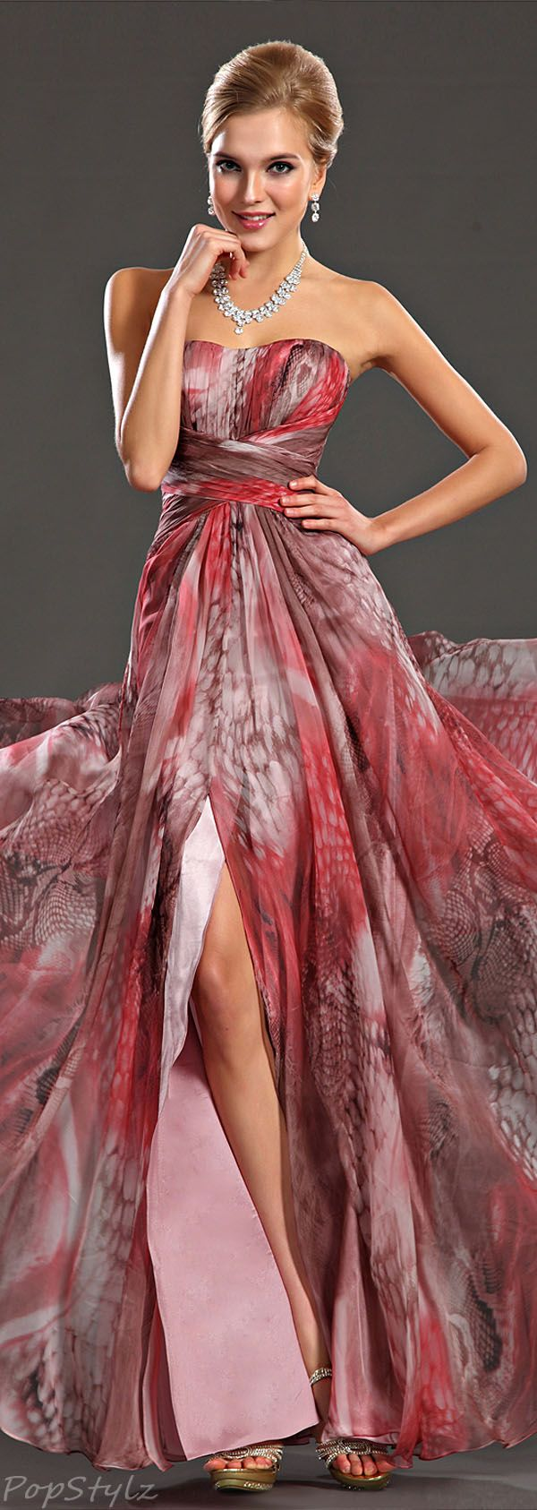 Pretty Printed Evening Gown  http://www.skinception.com Use the coupon code: stretch23 To get 25% off your order! #skinception