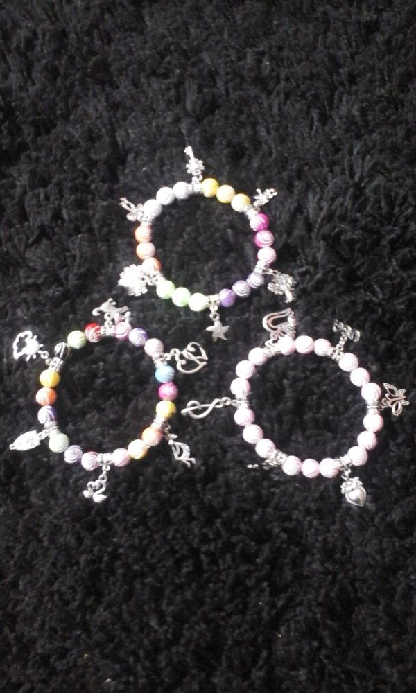 Three HandMade Charm Bracelets
