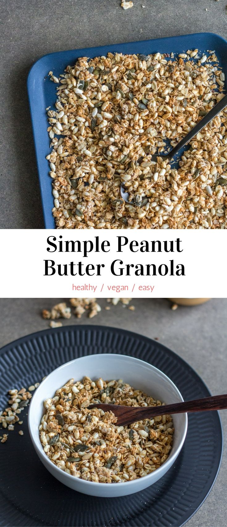 This Simple Peanut Butter Granola is the perfect make-ahead breakfast or snack. Easy and quick, customizable, healthy, and delicious. #vegan #snacks #breakfast #healthy #recipes