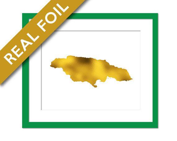 Jamaica Map - Gold Foil Print - Jamaica Art Print - Gold Foil Map - Home Country Map - Jamaica Wall Art - Gold Foil Country Map - Travel Art