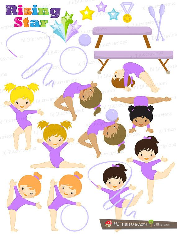 Gymnastic Girls in Purple Gymnastic Girl by hjIllustrations