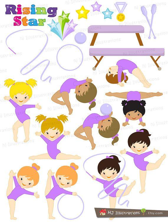 Gymnastic Girls in Purple Gymnastic Girl by hjIllustrations