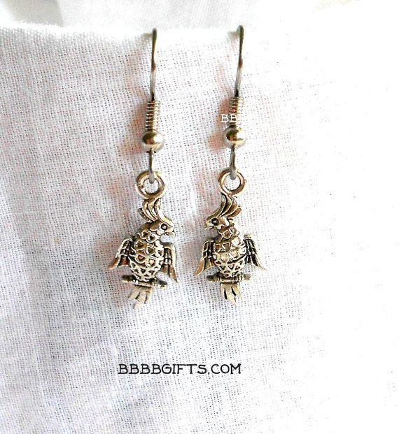 Vogel oorbellen Valkparkiet oorbellen Boulder zilveren oorbellen chirurgisch stalen oorbellen Frans haken
