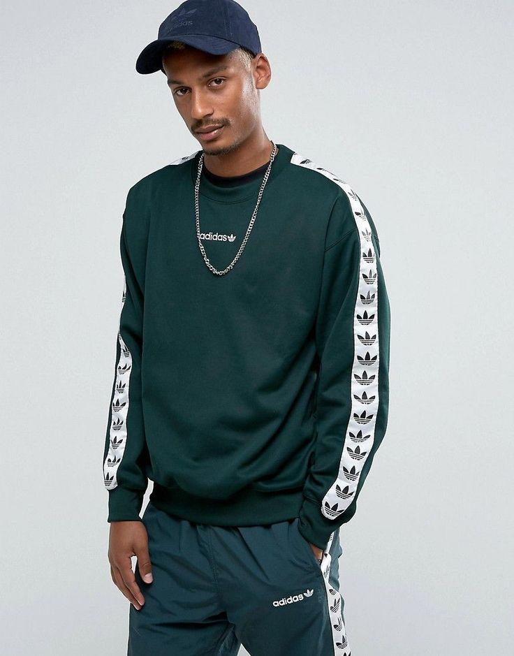Shop adidas Originals Adicolor TNT Tape Crew Sweat In Green at ASOS.