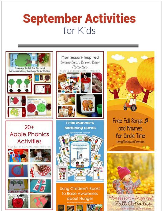 September Themed Activities for Kids. So many great ideas right at your fingertips. Lots of clickable links for topics perfect for back to school. Go to: http://livingmontessorinow.com/september-themed-activities-for-kids/