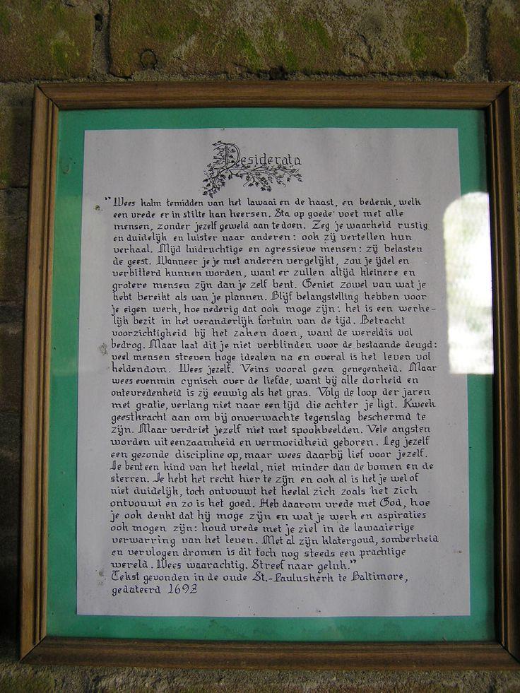 Tekst gevonden in de oude St.-Pauluskerk te Baltimore, gedateerd 1692 (1)