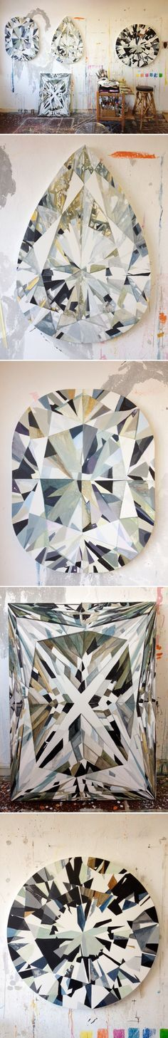 You want a huge diamond but can't effort it? Grab some colors and brushes and paint one! We love this idea of wall art #Diamanten #Kunst