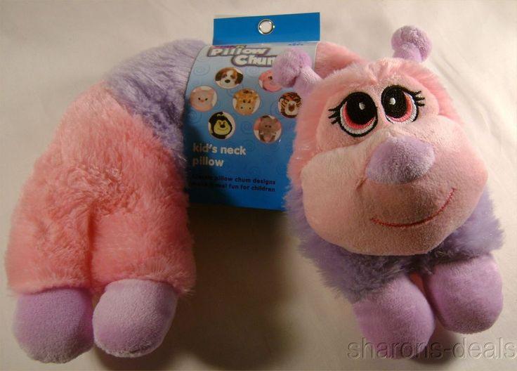 Animal Pillow Chum : Pink Caterpillar Neck Support Pillow Kellytoy Chums Kids Travel Plane Car Plush #KellyToy ...