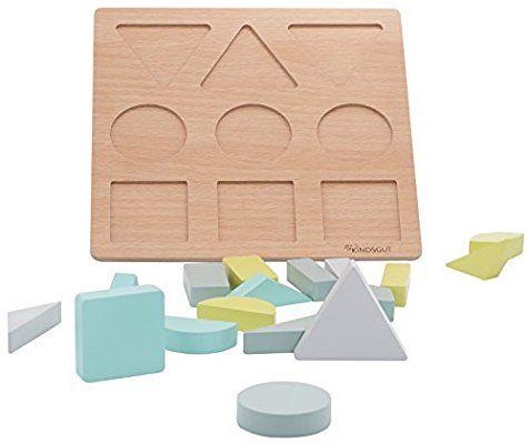 KINDSGUT Holzpuzzle, Motorik-Spielzeug, Puzzle mit Formen aus Holz für Kinder, Lern-Spielzeug, Holzspielzeug zur Förderung der motorischen Fähigkeiten, geeignet für Mädchen und Jungen ab 1 Jahr