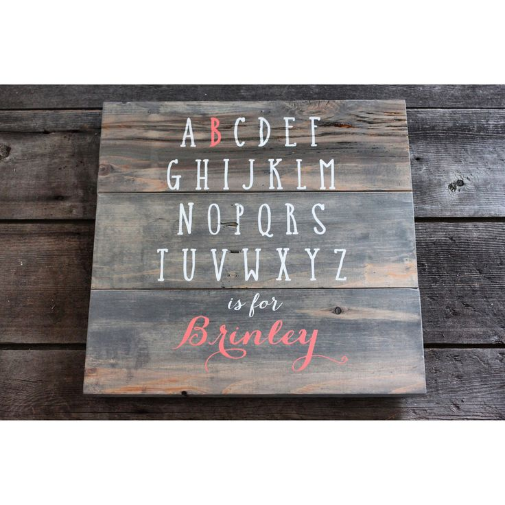 Handpainted reclaimed wood Alphabet and name sign, perfect for the nursery or as a birthday gift. Can be customized to match room colours.  (Shown in gray and coral and white) City and the Sticks Designs