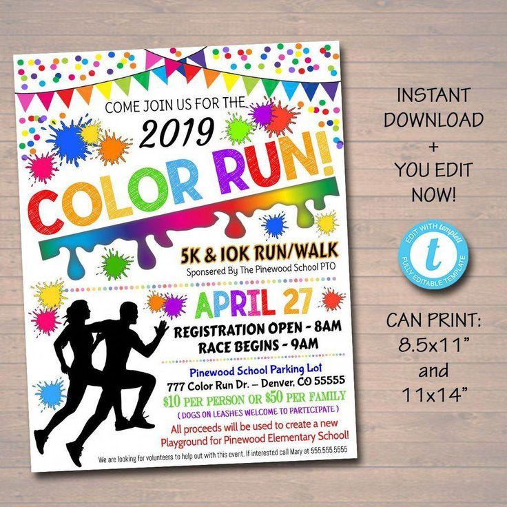 EDITABLE Color Run Flyer / Poster druckbare Einladung, Community-Spendenaktion, Charity School Benefit Fundraiser Run, 5 k 10 k Race Flyer   – Fundraising activities