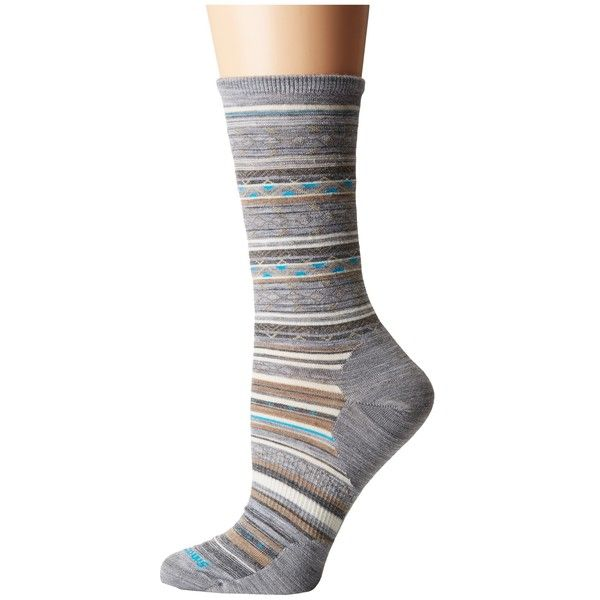 Smartwool Ethno Graphic Crew (Light Gray Heather) Women's Crew Cut... ($21) ❤ liked on Polyvore featuring intimates, hosiery, socks, crew socks, seamless socks, no seam socks, crew length socks and graphic socks