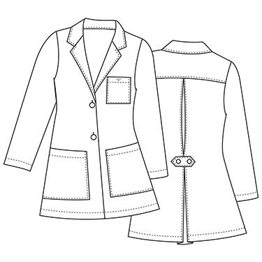 This is a notched collar lab coat with fashion details, including a pleated back with buttoned tab belt. This jacket has a two-button closure, front patch pockets and a patch breast pocket. Junior ...