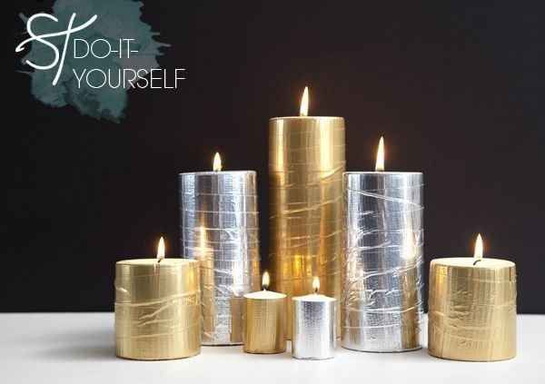 Metallic duct tape will transform your candles.