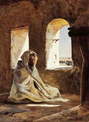 Algérie - Peintre Français Eugène Girardet (1853-1907), huile sur toile , Titre : La prière
