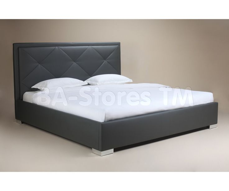 Elize Bed with Tufted Headboard in Graphite by White Line