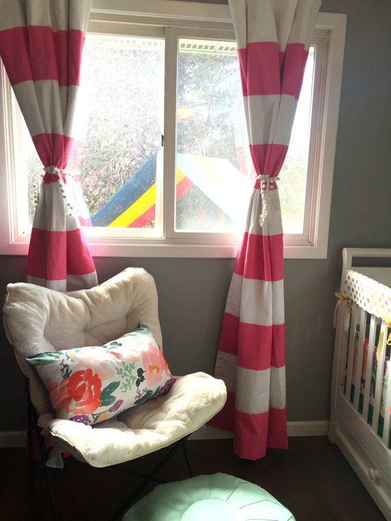 1 Pair Of Luxury Custom Pink Striped Curtains Your Size, Striped, Nautical  , Nursery Curtains, Window Treatments