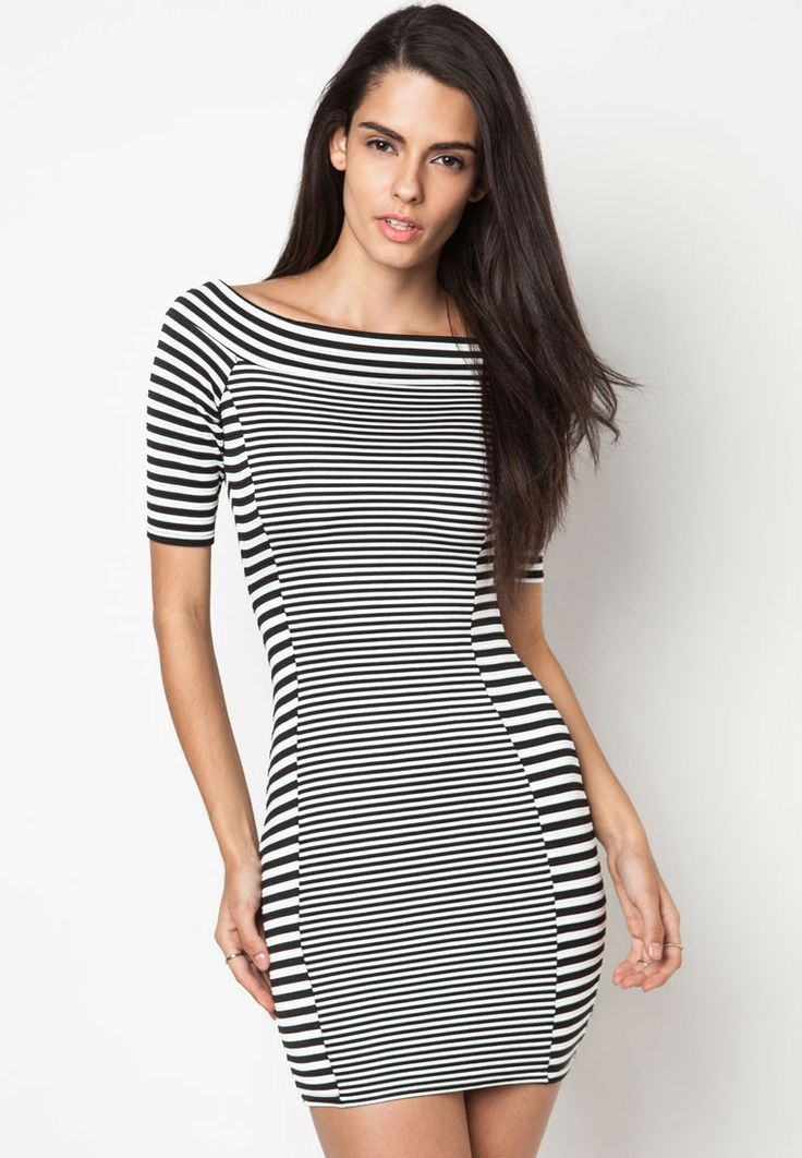 RIVER ISLAND Mixed Stripe Bardot Bodycon Dress