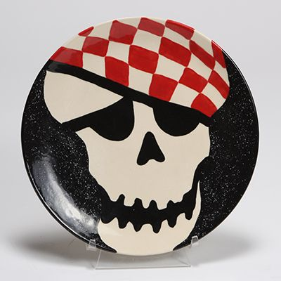 skull plate for halloween or most any time - Halloween Ceramic Plates