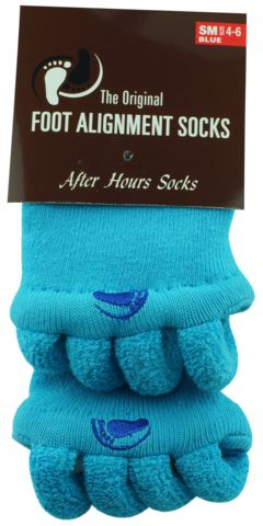 foot pain relief with blue foot alignment socks