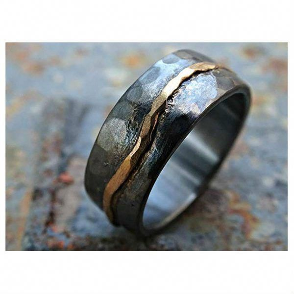 Hammered Gold Norse Wedding Band With Organic And Natural Wave Viking Forward In 2020 Mens Wedding Rings Cool Wedding Rings Buy Wedding Rings