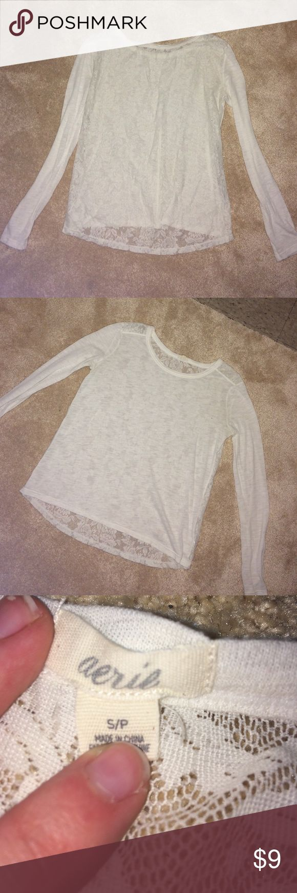 PRETTY LACE BACK AERIE CREAM LONG SLEEVE TOP SMALL Gently used condition lace back cream colored long sleeve shirt from Aerie size small. Very pretty top! aerie Tops Tees - Long Sleeve