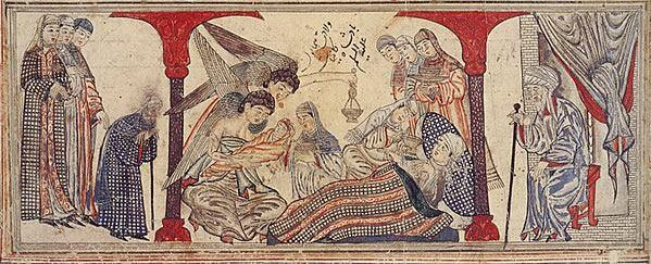 """Mohammed's birth. Miniature illustration on vellum from the book Jami' al-Tawarikh (literally """"Compendium of Chronicles"""" but often referred to as The Universal History or History of the World), by Rashid al-Din, published in Tabriz, Persia, 1307 A.D. Now in the collection of the Edinburgh University Library, Scotland. (This image can be found online here.)  (Hat tip: Jos.)"""