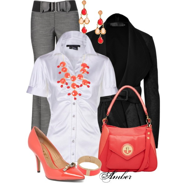 """Coral Accessories - Office Outfit"" by stay-at-home-mom on Polyvore"
