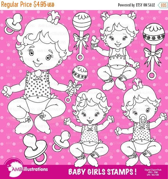 Baby Girl Stamp Pack Stamps Clipart Rattle Newborn Commercial Use AMB 831