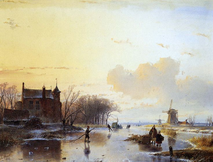 Andreas Schelfhout - Winterlandschap met moeder en kind op het ijs.