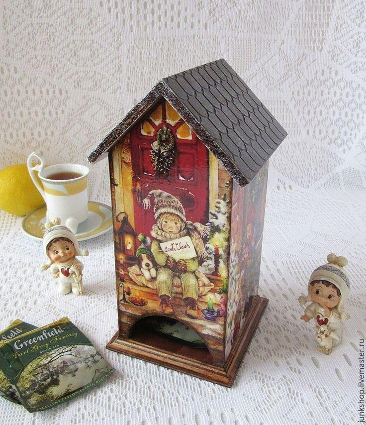"""Купить Чайный домик """"Рождественские каникулы"""" - чайный домик, чайный домик декупаж, домик для чая"""