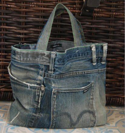 recycled denim shopping bag