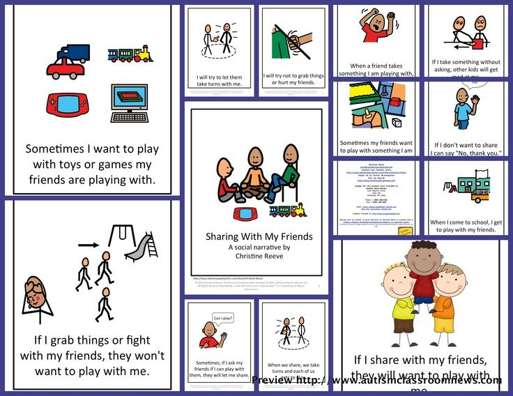 Social Story for Sharing: This illustrated story for elementary-aged students focuses on helping them share with others. t is useful as part of an overall behavior support plan and to share information about appropriate behavior. I have used it successfully with whole classes in which sharing was a problem as well as with individual students from preschool through second grade. It includes ...$2