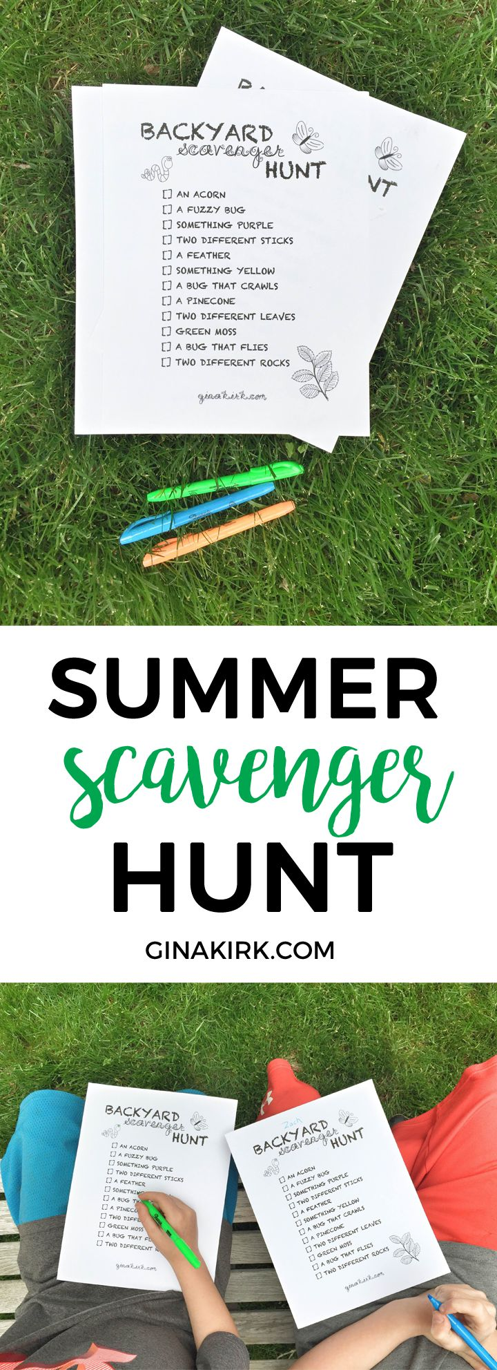 Backyard scavenger hunt | Printable summer nature scavenger hunt | Backyard ice cream party! | GinaKirk.com @ginaekirk #TopYourSummer #SoHoppinGood #ad
