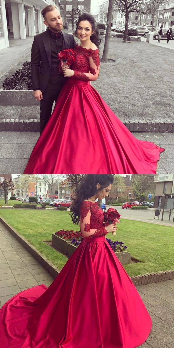 5b94c8c604 Red Off The Shoulder Long Sleeve Ball Gown Prom Dress,Wedding Dress With  Lace Appliques Bodice