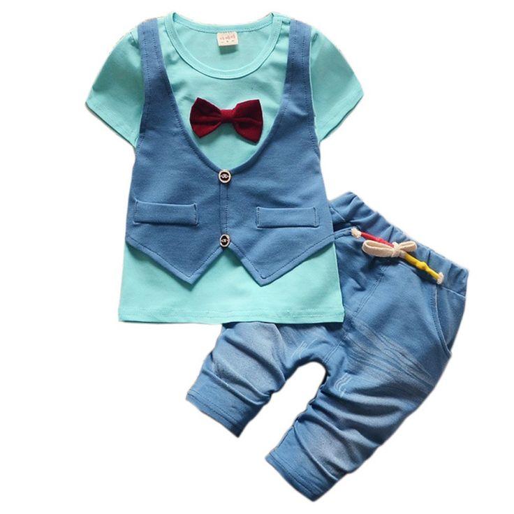 Kids Boys Clothes Sets Cartoon Gentleman bow tie T-shirt + Casual Shorts Baby Boy's Suit Set 1-4 Y #Affiliate