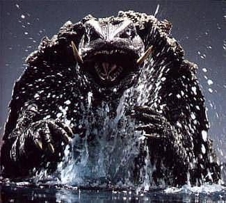Gamera rising from the water http://ethanvanderbuilt.com/2014/01/24/gamera-vs-guiron-monster-movie-fun/