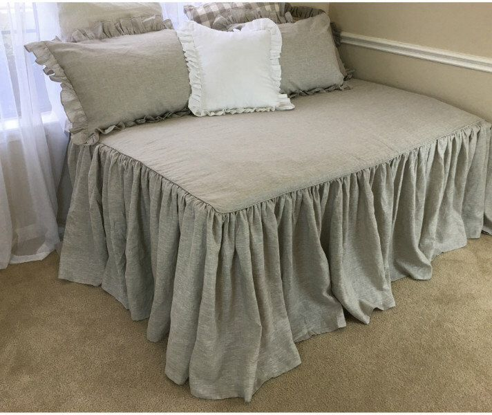 Daybed Cover, Daybed Bedding, Fitted Daybed Cover, Daybed Cover Set Natural linen, Linen Bedding. Shabby Chic Bedding,Ruffle Bedding by CustomLinensHandmade on Etsy https://www.etsy.com/listing/254265653/daybed-cover-daybed-bedding-fitted