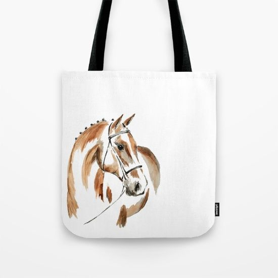 Bay Watercolour Horse Tote Bag by Art By Chrissy Taylor - $22.00