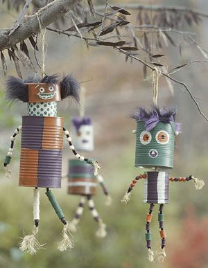 "Got a spare moment to craft inexpensively? This is an option: ""When tin cans turn into wind chimes for Halloween!"""
